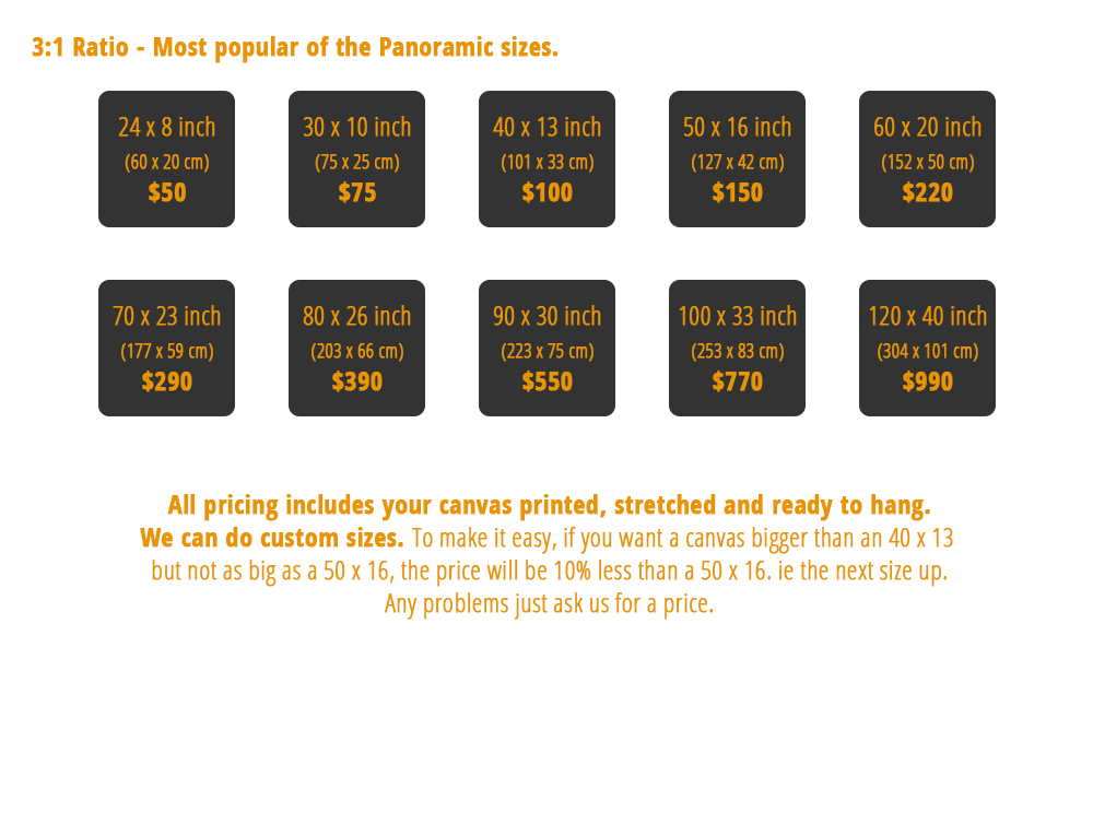 Canvas Pricing 3:1 Ratio Panoramic