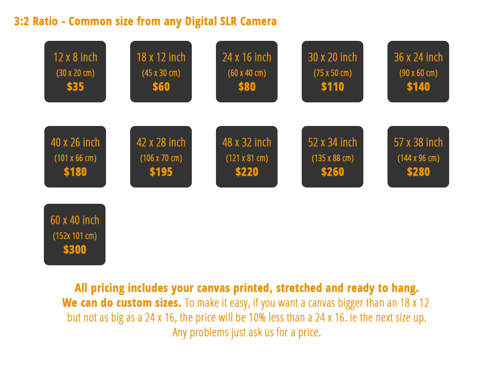 Canvas 3:2 ratio Pricing