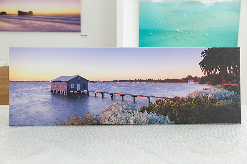 Perth Boat House Stretched Canvas