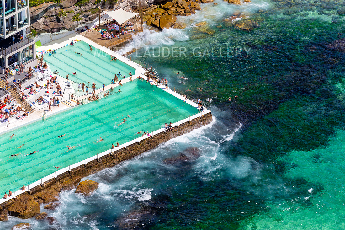 Bondi Ocean Pool Aerial Photos Summer Green People Fine