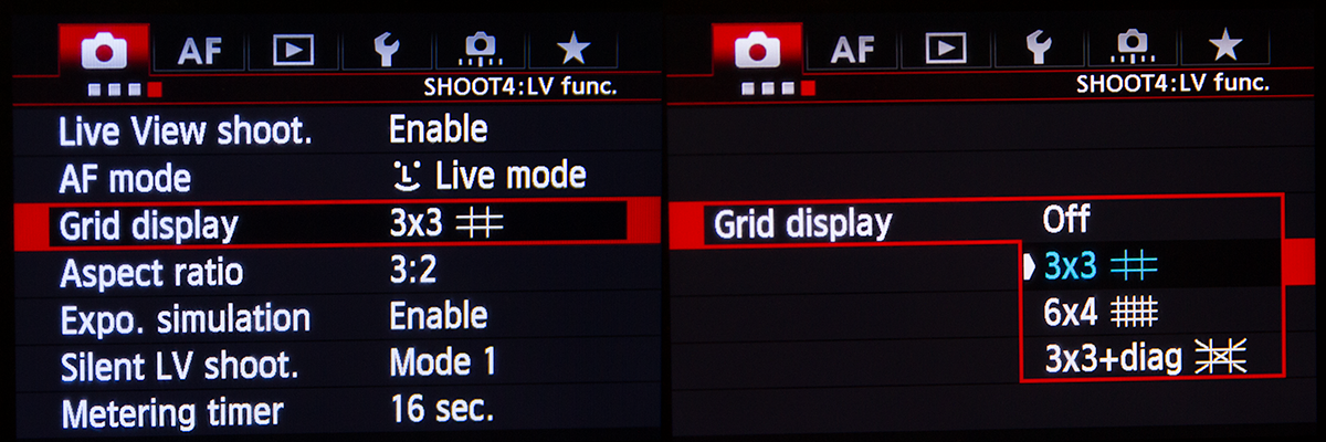 Canon 5D Mk III Grid Menu Setting
