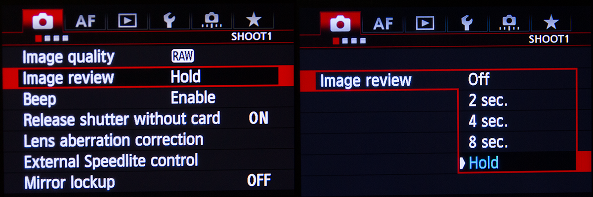 Canon 5D Mk III Image Hold Menu