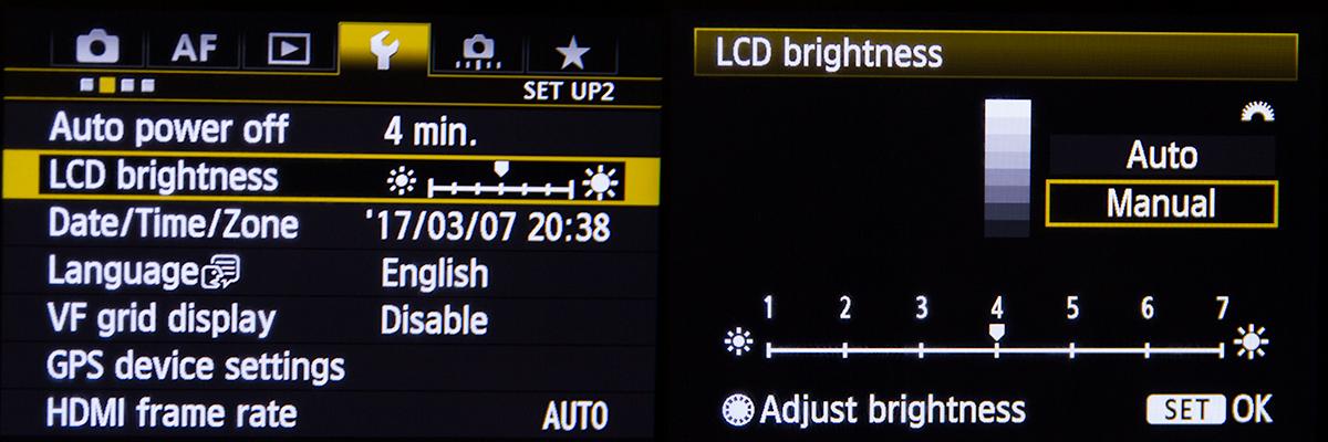 Canon 5D Mk III LCD Brightness Setting