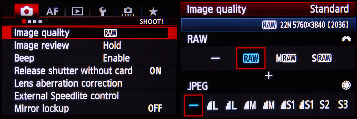 Canon 5D Mk III Raw Menu Setting