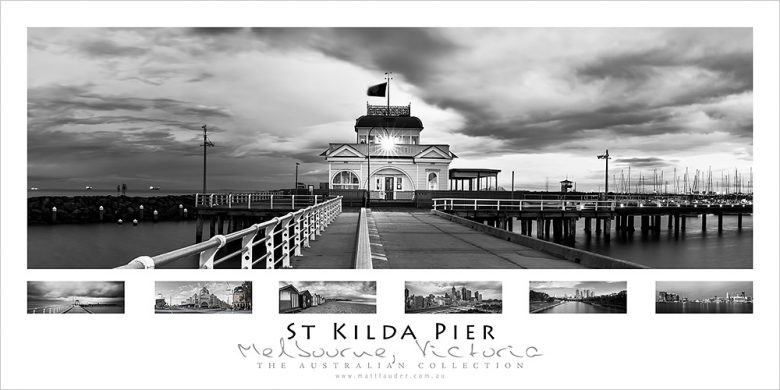 St Kilda Pier Black and White Poster