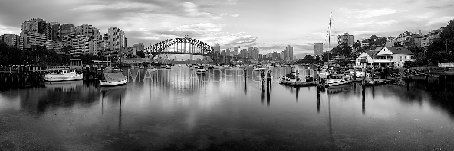 Lavender Bay panoramic Black and White Photo