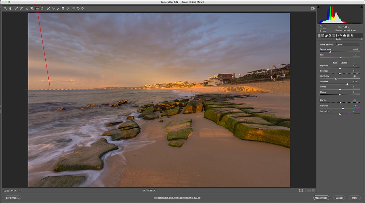 Horizon Align Tool Camera Raw