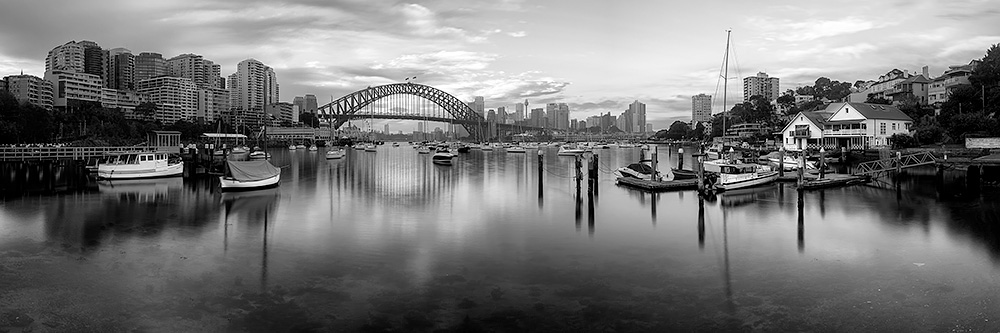 Lavender Bay panoramic Black and White image