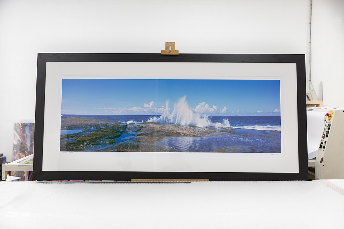 60 inch wide framed black breakwall terrigal
