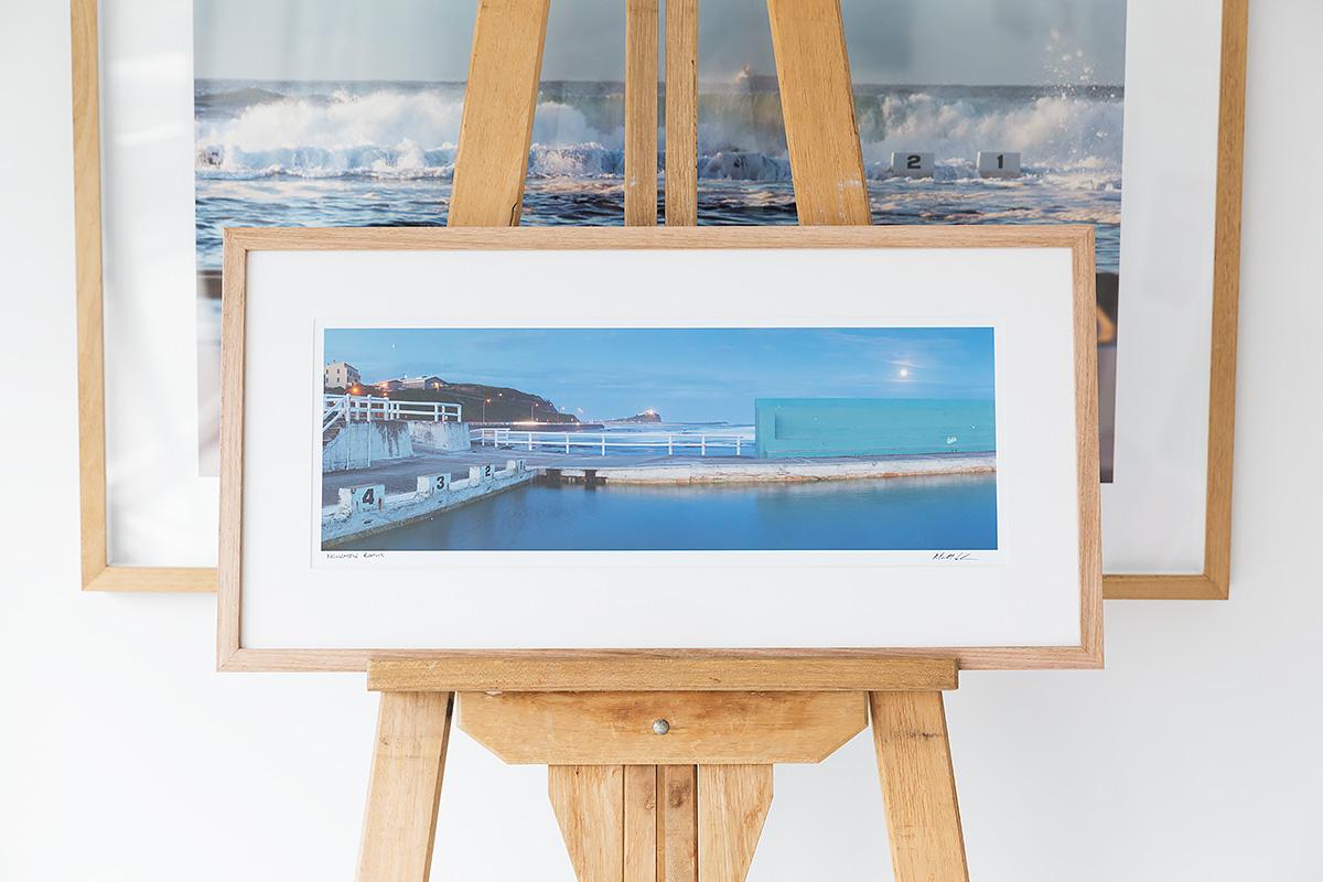 Newcastle Ocean Baths - 24 inch framed photo in Tasmanian Oak