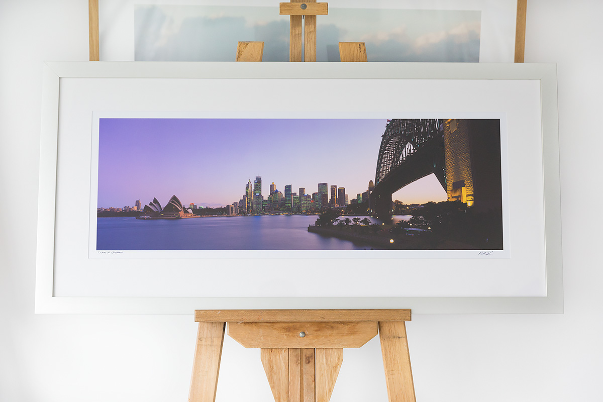 Lights on Sydney - 40 inch wide panoramic - Brushed Silver Frame ...