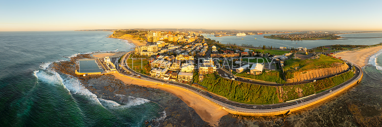 Newcastle Wide Angle Panoramic Aerial Image