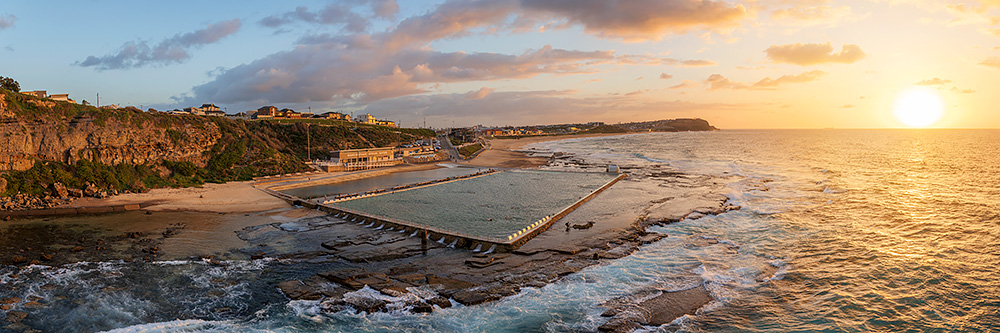 Merewether Ocean Baths Sunrise Aerial Photo