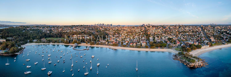 Balmoral Beach Aerial Panoramic Sunrise Photos
