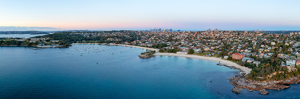 Balmoral Beach Aerial Panoramic Sunrise Images