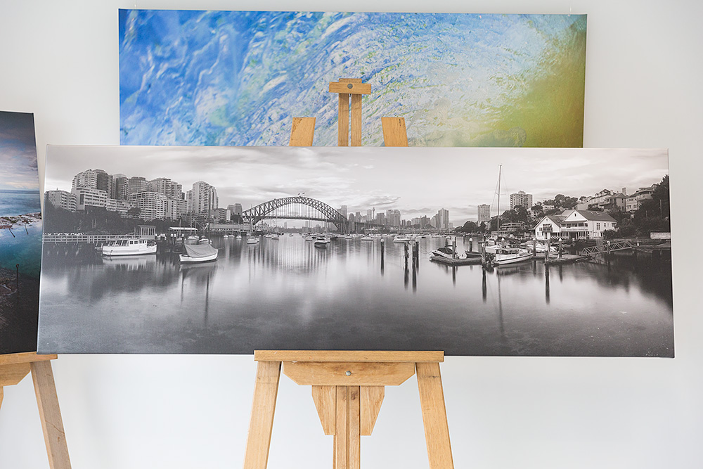 Lavender Bay Black and White - Sydney - 70 inch wide Stretched Canvas