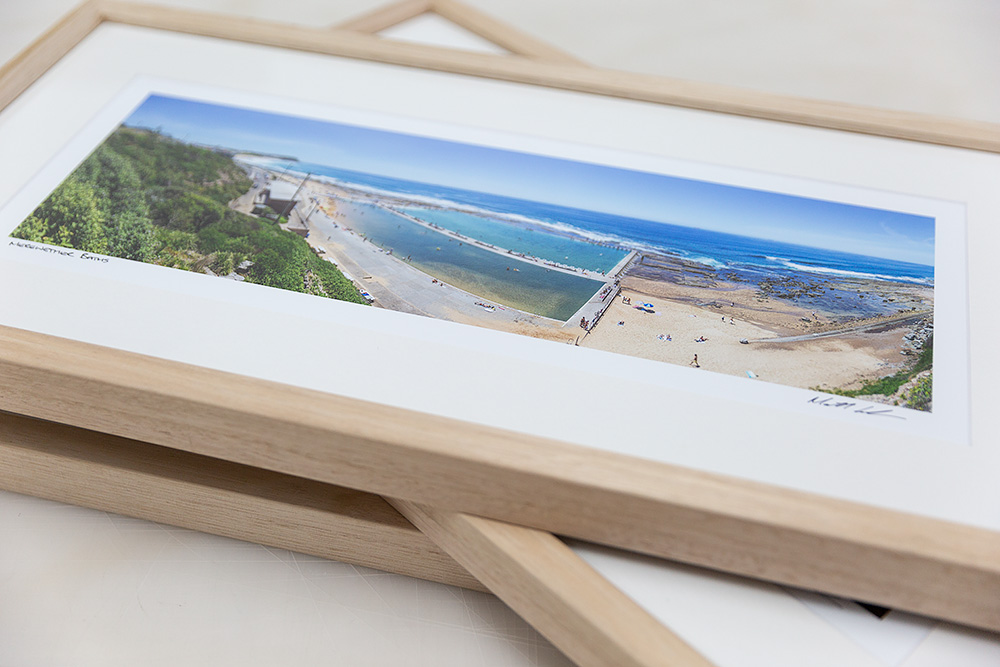 12 inch wide Newcastle Framed Photos Tasmanian Oak