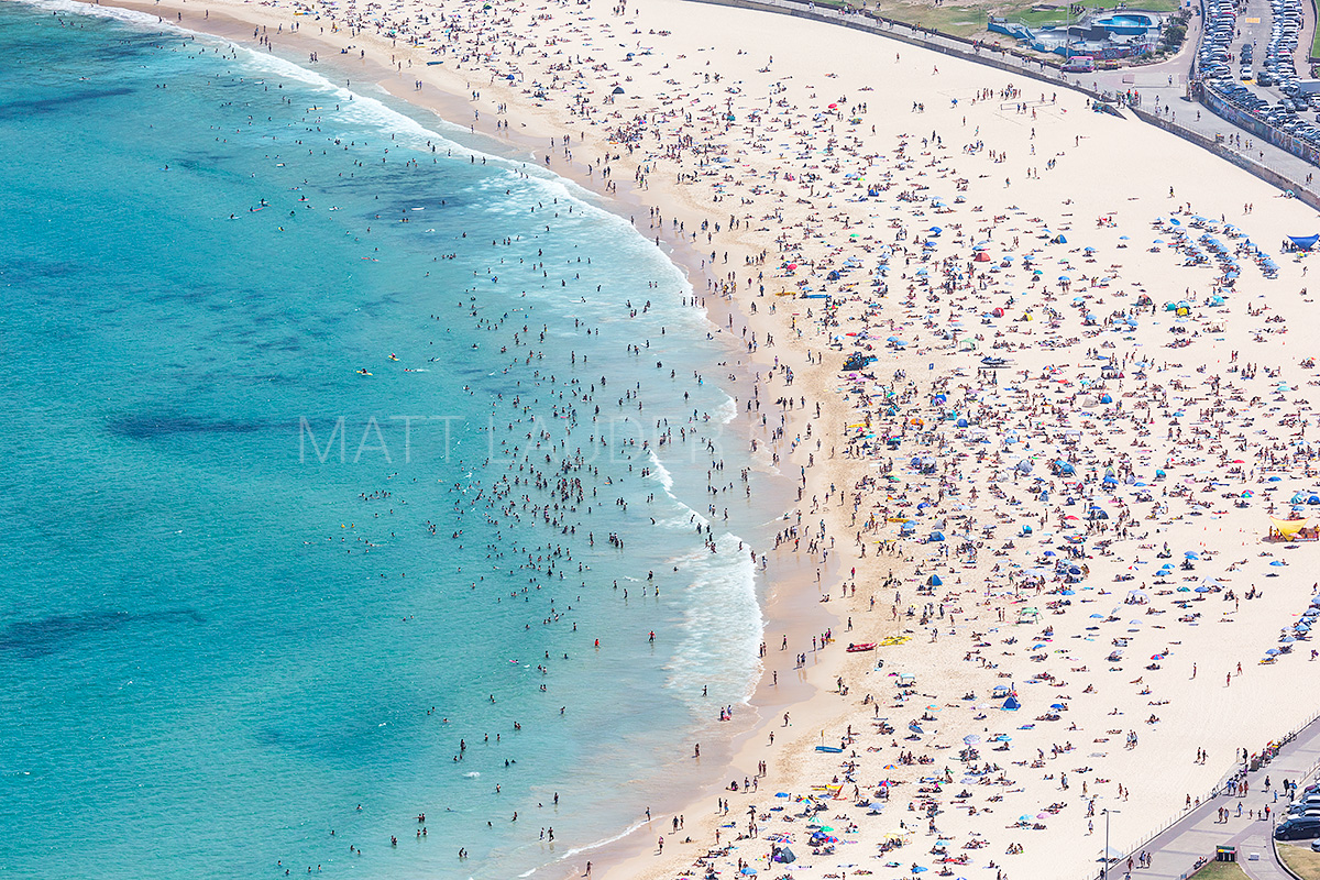 Packed Bondi Beach Aerial Images
