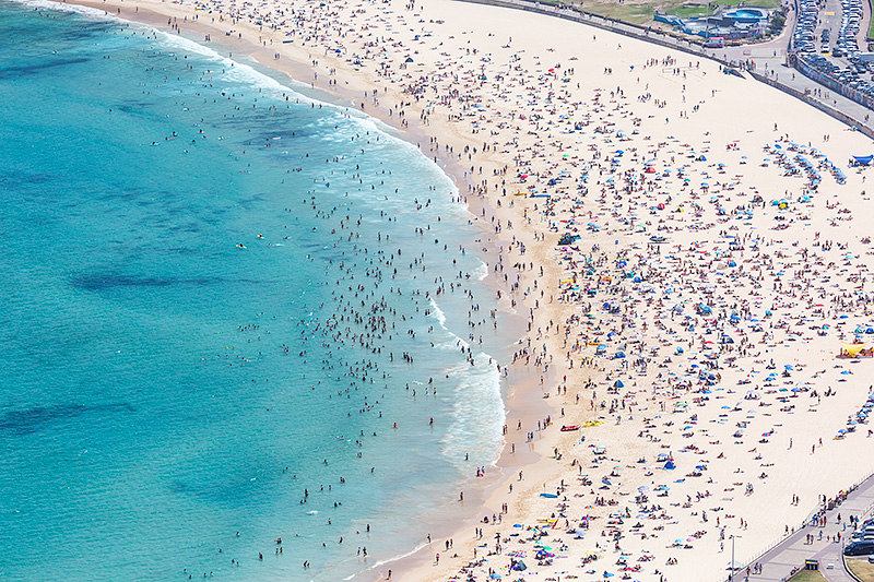 Packed Bondi Beach Aerial Photos
